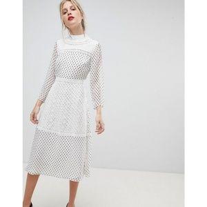 NWT ASOS Spot Embroidered Polka Dot Midi Dress